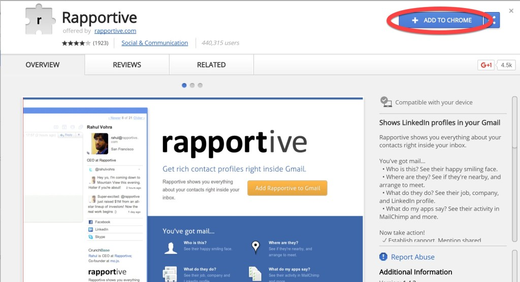 install rapportive